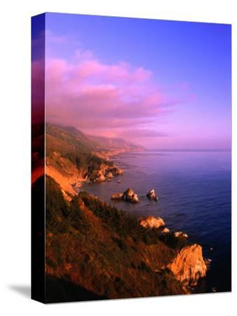 Sunset on the Big Sur Coastline, California, USA-Thomas Winz-Stretched Canvas Print