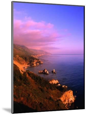 Sunset on the Big Sur Coastline, California, USA-Thomas Winz-Mounted Photographic Print