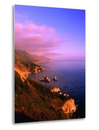 Sunset on the Big Sur Coastline, California, USA-Thomas Winz-Metal Print