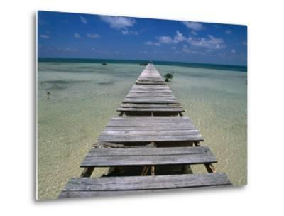 Wooden Pier with Broken Planks, Ambergris Caye, Belize-Doug McKinlay-Metal Print