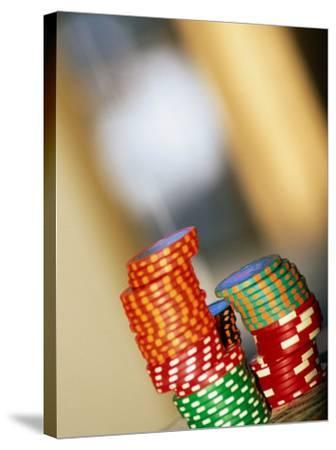 Gambling Chips and Us Currency, Las Vegas, Nevada, USA-Ray Laskowitz-Stretched Canvas Print