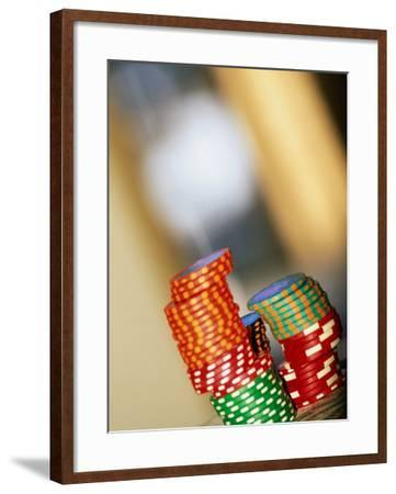 Gambling Chips and Us Currency, Las Vegas, Nevada, USA-Ray Laskowitz-Framed Photographic Print