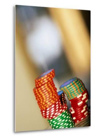 Gambling Chips and Us Currency, Las Vegas, Nevada, USA-Ray Laskowitz-Metal Print