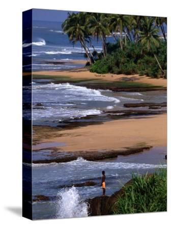 Boy Standing on Seashore Galle, Sri Lanka-John Borthwick-Stretched Canvas Print
