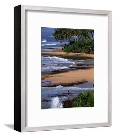 Boy Standing on Seashore Galle, Sri Lanka-John Borthwick-Framed Photographic Print