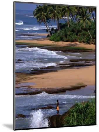 Boy Standing on Seashore Galle, Sri Lanka-John Borthwick-Mounted Photographic Print