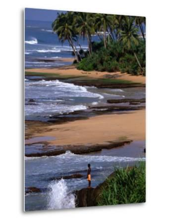 Boy Standing on Seashore Galle, Sri Lanka-John Borthwick-Metal Print
