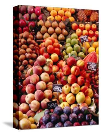 Fruit at La Boqueria Market, Barcelona, Spain-Oliver Strewe-Stretched Canvas Print