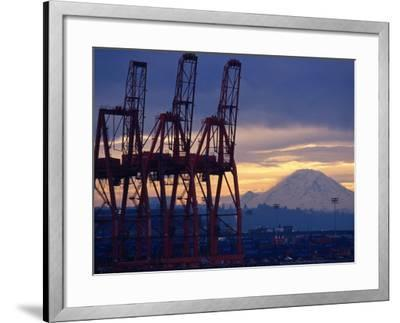 Elliot Bay Industrial Waterfront, Seattle, Washington, USA-Lawrence Worcester-Framed Photographic Print