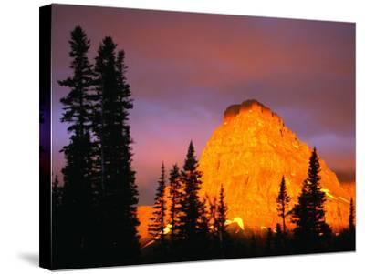 Sunrise on Sinopah Mountain at Two Medicine Lake - Glacier National Park, Montana, USA-John Elk III-Stretched Canvas Print