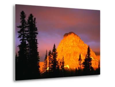 Sunrise on Sinopah Mountain at Two Medicine Lake - Glacier National Park, Montana, USA-John Elk III-Metal Print