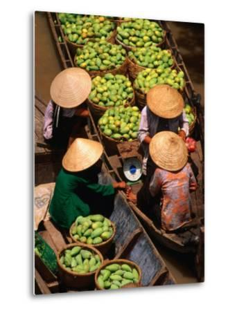Floating Market along the Mekong Delta, an Giang, Vietnam-John Banagan-Metal Print
