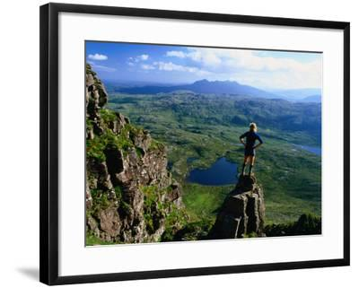 Walker Looking Towards Suilven from Stac Pollaigh, Scotland-Grant Dixon-Framed Photographic Print
