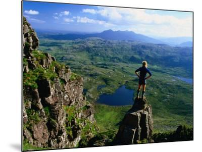 Walker Looking Towards Suilven from Stac Pollaigh, Scotland-Grant Dixon-Mounted Photographic Print