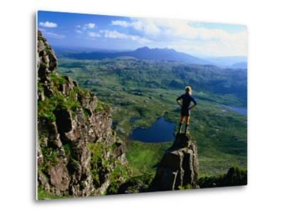 Walker Looking Towards Suilven from Stac Pollaigh, Scotland-Grant Dixon-Metal Print