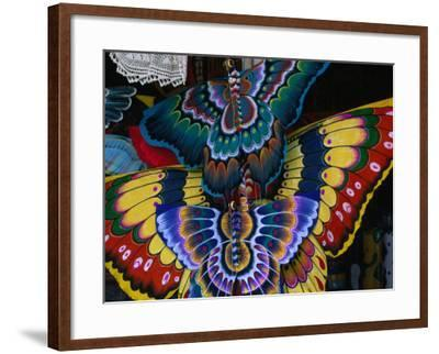 Hand-Crafted Butterfly Kites for Sale, Gianyar, Indonesia-Paul Beinssen-Framed Photographic Print