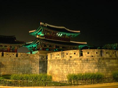Old City Walls and Gate at Night, Jeonju, South Korea-Martin Moos-Framed Photographic Print