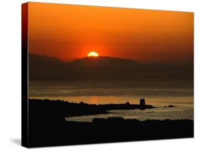 Sunset Over the Costa Del Sol and the Ancient Watchtower at Estepona, Malaga, Andalucia, Spain-David Tomlinson-Stretched Canvas Print