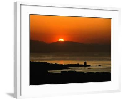 Sunset Over the Costa Del Sol and the Ancient Watchtower at Estepona, Malaga, Andalucia, Spain-David Tomlinson-Framed Photographic Print