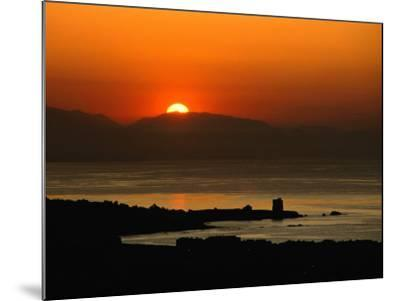 Sunset Over the Costa Del Sol and the Ancient Watchtower at Estepona, Malaga, Andalucia, Spain-David Tomlinson-Mounted Photographic Print