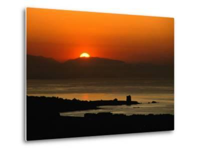 Sunset Over the Costa Del Sol and the Ancient Watchtower at Estepona, Malaga, Andalucia, Spain-David Tomlinson-Metal Print