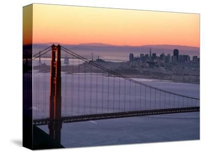Dawn Over the Golden Gate Bridge from Marin Headlands, San Francisco, California, USA-David Tomlinson-Stretched Canvas Print