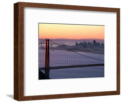 Dawn Over the Golden Gate Bridge from Marin Headlands, San Francisco, California, USA-David Tomlinson-Framed Photographic Print