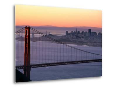 Dawn Over the Golden Gate Bridge from Marin Headlands, San Francisco, California, USA-David Tomlinson-Metal Print