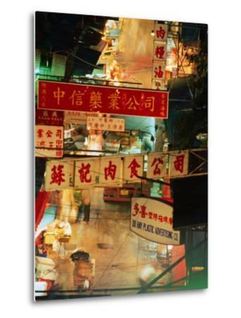 Chinese Banners Hanging at Wet Market, Central, Hong Kong, China-Ray Laskowitz-Metal Print