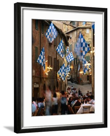 Pre-Palio Banquet for Members of the Onda (Wave) Contrada, Siena, Tuscany, Italy-David Tomlinson-Framed Photographic Print