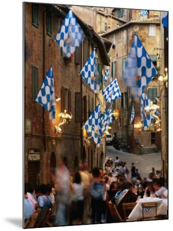 Pre-Palio Banquet for Members of the Onda (Wave) Contrada, Siena, Tuscany, Italy-David Tomlinson-Mounted Photographic Print