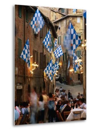 Pre-Palio Banquet for Members of the Onda (Wave) Contrada, Siena, Tuscany, Italy-David Tomlinson-Metal Print