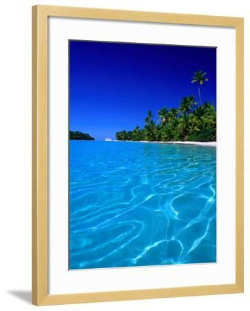 Tropical Lagoon Waters, Aitutaki, Southern Group, Cook Islands-Peter Hendrie-Framed Photographic Print