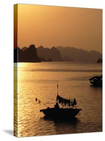 Dusk Over Halong Bay, Halong City, Vietnam-Oliver Strewe-Stretched Canvas Print