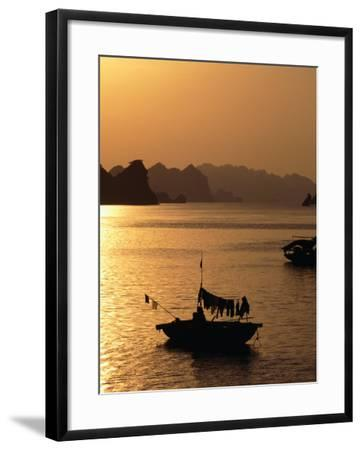 Dusk Over Halong Bay, Halong City, Vietnam-Oliver Strewe-Framed Photographic Print