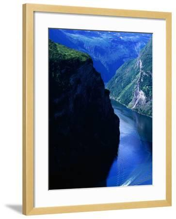 Fjord Ferry and Seven Sisters Waterfall, Geiranger, Norway-Anders Blomqvist-Framed Photographic Print