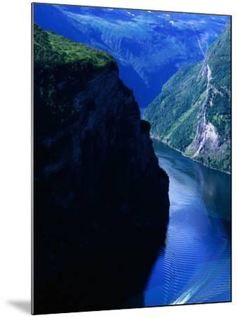 Fjord Ferry and Seven Sisters Waterfall, Geiranger, Norway-Anders Blomqvist-Mounted Photographic Print