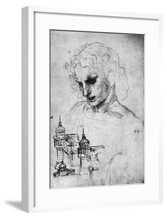 Study of a Head and of an Architectural Structure, Windsor Castle-Leonardo da Vinci-Framed Giclee Print