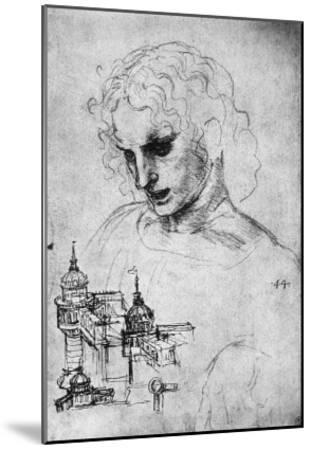 Study of a Head and of an Architectural Structure, Windsor Castle-Leonardo da Vinci-Mounted Giclee Print