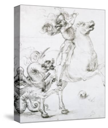 St. George and the Dragon, Drawing, Gabinetto Dei Disegni E Delle Stampe, Uffizi Gallery-Raphael-Stretched Canvas Print