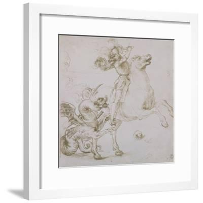 St. George and the Dragon, Drawing, Gabinetto Dei Disegni E Delle Stampe, Uffizi Gallery-Raphael-Framed Giclee Print