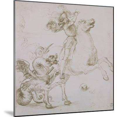 St. George and the Dragon, Drawing, Gabinetto Dei Disegni E Delle Stampe, Uffizi Gallery-Raphael-Mounted Giclee Print