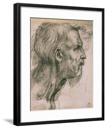 Drawing with Male Profile, in the Uffizi Gallery, in the Gabinetto Dei Disegni E Delle Stampea-Andrea del Sarto-Framed Giclee Print