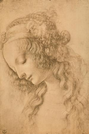 Study for the Face of the Virgin Mary of the Annunciation Now in the Louvre-Leonardo da Vinci-Stretched Canvas Print
