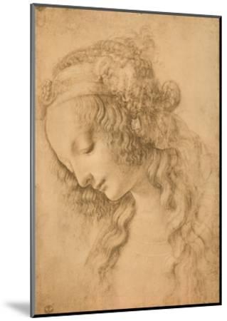 Study for the Face of the Virgin Mary of the Annunciation Now in the Louvre-Leonardo da Vinci-Mounted Giclee Print