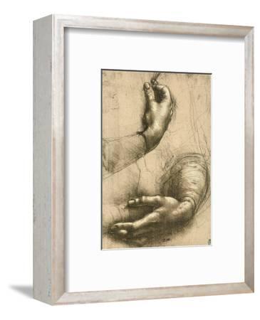 Study of Female Hands, Drawing, Royal Library, Windsor-Leonardo da Vinci-Framed Premium Giclee Print