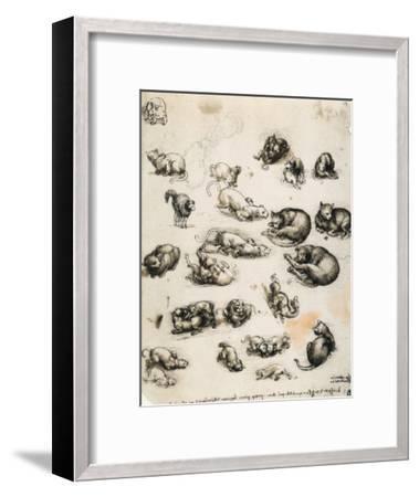 Cats, Lions and Dragons, Drawing, Royal Library, Windsor-Leonardo da Vinci-Framed Giclee Print