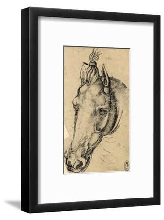 Study of the Head of a Horse, Pen Drawing on Paper Turned Yellow, Royal Library, Windsor-Leonardo da Vinci-Framed Premium Giclee Print