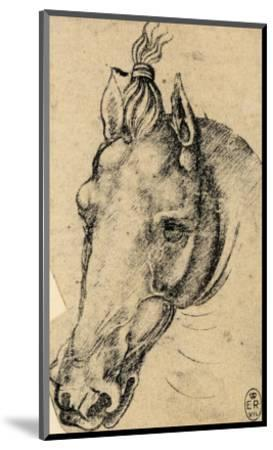 Study of the Head of a Horse, Pen Drawing on Paper Turned Yellow, Royal Library, Windsor-Leonardo da Vinci-Mounted Premium Giclee Print