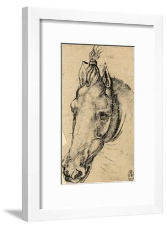 Study of the Head of a Horse, Pen Drawing on Paper Turned Yellow, Royal Library, Windsor-Leonardo da Vinci-Framed Giclee Print